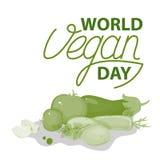 Иллюстрация знака литерности вектора Vegan Овощи в зеленом цвете Стоковое фото RF