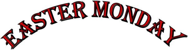 Иллюстрация знака текста пасхи понедельника Стоковые Фото