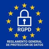 Иллюстрация знака GDPR вызвала RGPD в испанском языке иллюстрация вектора