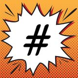 Иллюстрация знака Hashtag вектор Значок стиля комиксов на шипучк-искусстве иллюстрация вектора