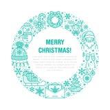 Иллюстрация знамени Нового Года рождества Vector линия значок зимних отдыхов рождественской елки, подарка, Санта Клауса, письма к Стоковое фото RF