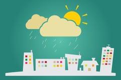 Иллюстрация идти дождь в городе Стоковое Изображение