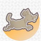 Иллюстрация идущей собаки на абстрактной предпосылке Стоковые Фотографии RF