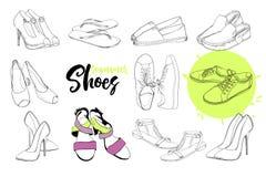 Иллюстрация изолированных ботинок сандалии объектов Графический дизайн чертежа для женщины, девушки и дамы обувь клиппирования пр Стоковое Изображение
