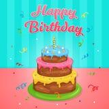 Иллюстрация именниного пирога с днем рождений на вечеринке по случаю дня рождения иллюстрация вектора