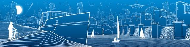 Иллюстрация инфраструктуры города панорамная Большой мост через реку zaporozhye Украины станции реки гидроэлектрической энергии d Стоковые Изображения