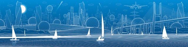 Иллюстрация инфраструктуры города панорамная Большой мост через реку Плавать плавать на воде Белые линии на голубой предпосылке V Стоковое Фото