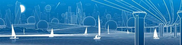 Иллюстрация инфраструктуры города панорамная Большой мост через реку Плавать плавать на воде Белые линии на голубой предпосылке V Стоковое Изображение