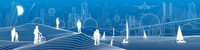Иллюстрация инфраструктуры города панорамная через большое реку моста Люди на береге Плавать плавать на море Белые линии на bl Стоковые Изображения RF