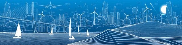 Иллюстрация инфраструктуры города панорамная через большое реку моста над взглядом берега моря Плавать плавать на воде Белые лини Стоковая Фотография RF
