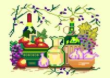 Иллюстрация искусства пиксела нутряная кухня также вектор иллюстрации притяжки corel иллюстрация вектора