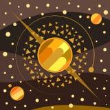 Иллюстрация искусства планет золотая стоковое фото