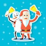 Иллюстрация искусства стикера мультфильма плоская снеговика с обнимать Санта Клауса бесплатная иллюстрация