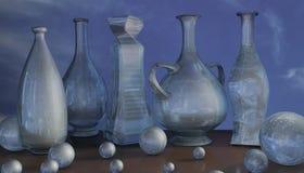 иллюстрация искусства 3d вазы опарника синего стекла и состава шарика стоковая фотография