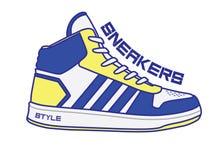 Иллюстрация и логотип ботинок спорта иллюстрация вектора