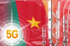 Иллюстрация Камеруна 5G промышленная, большой клетчатый рангоут сети или башня на современной предпосылке с флагом - иллюстрации  иллюстрация вектора