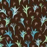 Иллюстрация картины повторения леса папоротника и Грязь-девственницы безшовная Предпосылка в зеленых сини и Брауне бесплатная иллюстрация