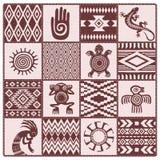Иллюстрация картин и символов коренных американцев этнических иллюстрация штока