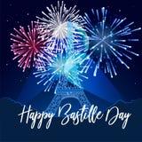 иллюстрация, карточка, знамя или плакат на французский национальный праздник Счастливый день Бастилии иллюстрация штока
