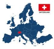 Иллюстрация карты Европы с выделенной Швейцарией Стоковая Фотография RF