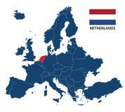 Иллюстрация карты Европы с выделенными Нидерландами Стоковое Фото