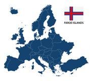 Иллюстрация карты Европы с выделенными Фарерскими островами Стоковое Изображение RF