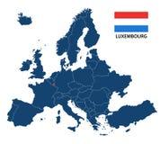 Иллюстрация карты Европы с выделенным Люксембургом Стоковые Фотографии RF
