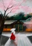 Иллюстрация китайской женщины около дома бесплатная иллюстрация
