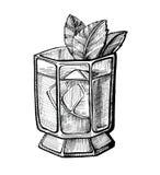Иллюстрация коктеиля спирта нарисованная рукой Стоковое Изображение RF
