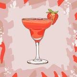 Иллюстрация коктейля дайкири клубники Вектор спиртной руки напитка бара вычерченный Искусство шипучки иллюстрация вектора