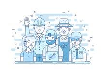Иллюстрация команды обслуживания в стиле lineart иллюстрация штока