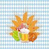 Иллюстрация комплекта еды и вектора пива на белизне иллюстрация штока