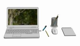 Иллюстрация компьтер-книжки с бесшнуровыми блокнотом и карандашами мыши Стоковое Фото