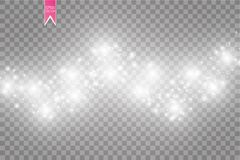 Иллюстрация конспекта волны яркого блеска вектора белая Частицы белого следа пыли звезды сверкная изолированные на прозрачном Стоковое Изображение