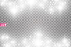 Иллюстрация конспекта волны яркого блеска вектора белая Частицы белого следа пыли звезды сверкная изолированные на прозрачном Стоковые Изображения