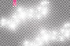Иллюстрация конспекта волны яркого блеска вектора белая Частицы белого следа пыли звезды сверкная изолированные на прозрачном Стоковые Фотографии RF