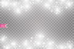 Иллюстрация конспекта волны яркого блеска вектора белая Частицы белого следа пыли звезды сверкная изолированные на прозрачном Стоковые Фото