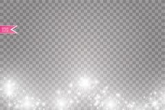 Иллюстрация конспекта волны яркого блеска вектора белая Частицы белого следа пыли звезды сверкная изолированные на прозрачном Стоковое фото RF