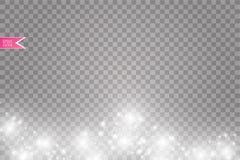 Иллюстрация конспекта волны яркого блеска вектора белая Частицы белого следа пыли звезды сверкная изолированные на прозрачном Стоковые Изображения RF