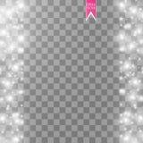 Иллюстрация конспекта волны яркого блеска вектора белая Частицы белого следа пыли звезды сверкная на линии изолированной дальше Стоковые Изображения RF