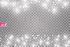 Иллюстрация конспекта волны яркого блеска вектора белая Частицы белого следа пыли звезды сверкная на линии изолированной дальше Стоковое Изображение RF