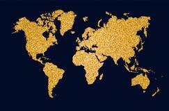 Иллюстрация концепции искусства яркого блеска золота карты мира Стоковые Фотографии RF