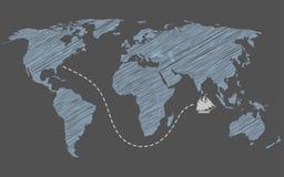 Иллюстрация концепции перемещения по всему миру Стоковое Изображение RF