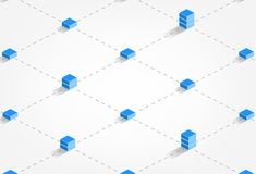 Иллюстрация концепции технологии цепи блока - blockchain - иллюстрация вектора