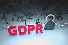 Иллюстрация концепции GDPR Общая регулировка защиты данных, защита личных данных Данные и цепь с замком Стоковые Фотографии RF
