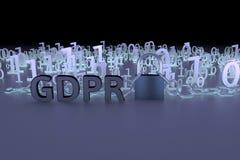 Иллюстрация концепции GDPR Общая регулировка защиты данных, защита личных данных Данные и цепь с замком Стоковые Изображения