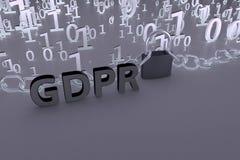 Иллюстрация концепции GDPR Общая регулировка защиты данных, защита личных данных Данные и цепь с замком Стоковое Изображение