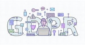 Иллюстрация концепции GDPR Общая регулировка защиты данных Защита личных данных , изолированный на белизне иллюстрация штока