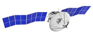 Иллюстрация космоса спутниковая промышленная - космический корабль с большими панелями солнечной энергии изолированными на бело-  бесплатная иллюстрация