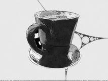 Иллюстрация кофейной чашки и поддонника иллюстрация штока